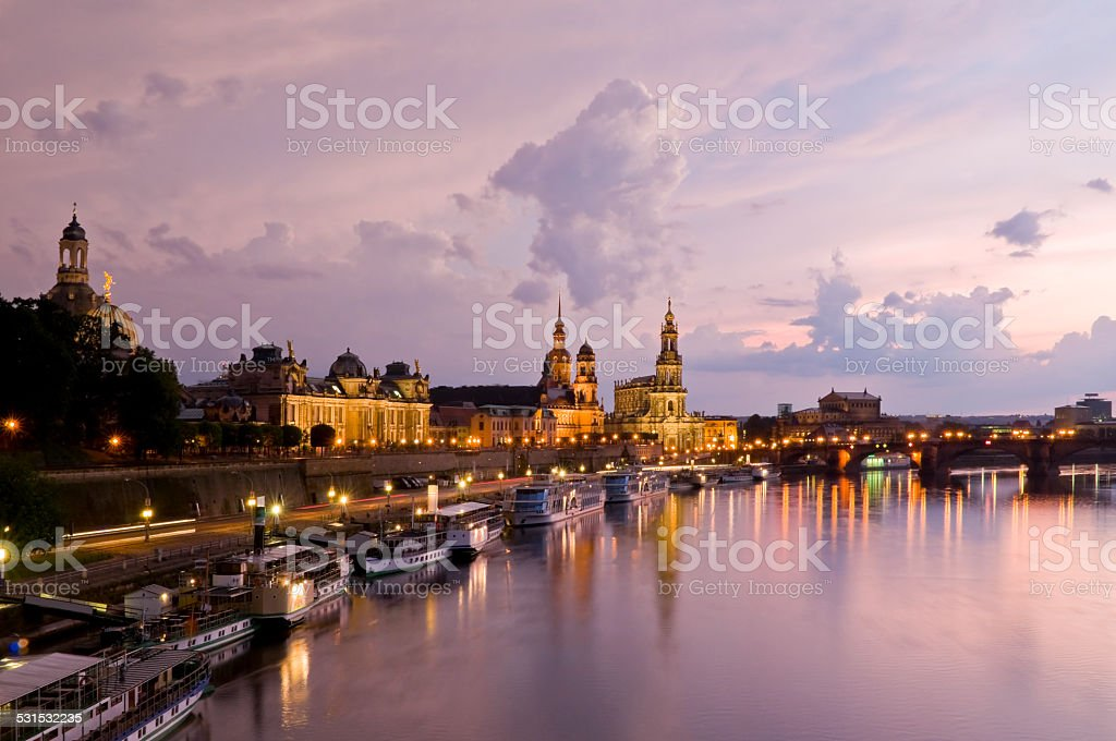 Dresden at twilight stock photo