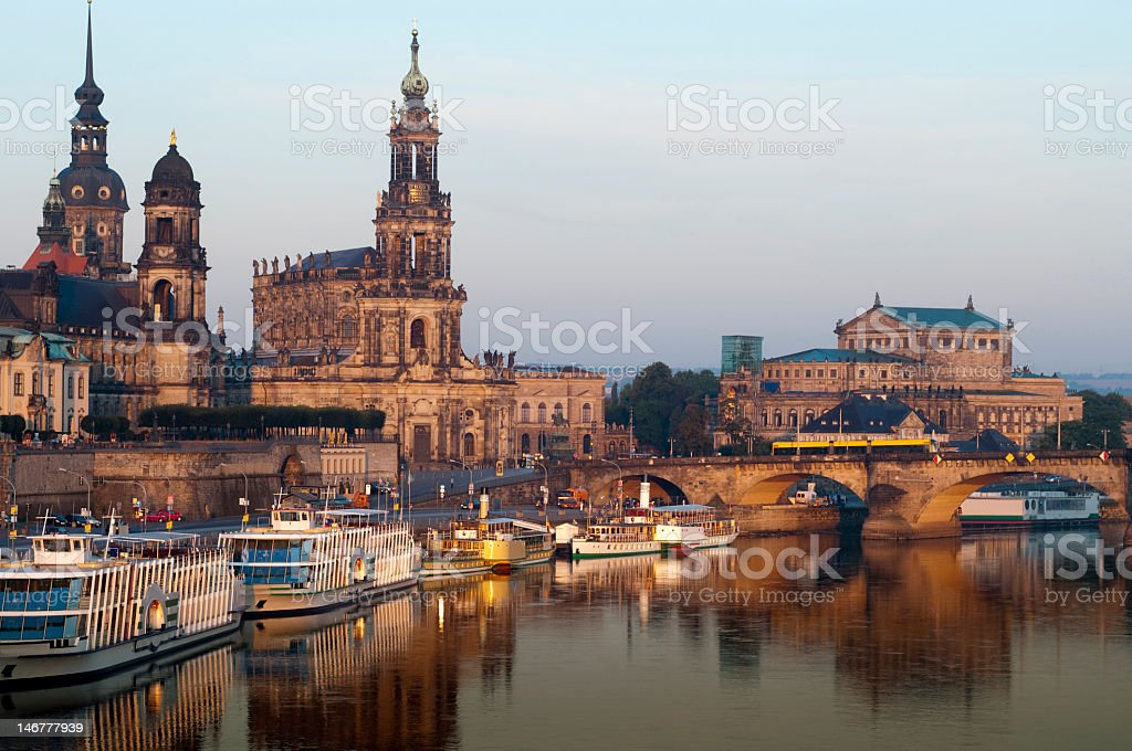 Dresden Brühl Terrace at Sunrise with Elbe River Reflections, Germany stock photo