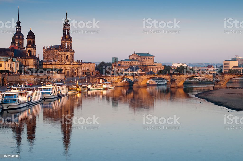 Dresden Br?hl Terrace at Sunrise with Reflections in Elbe River stock photo