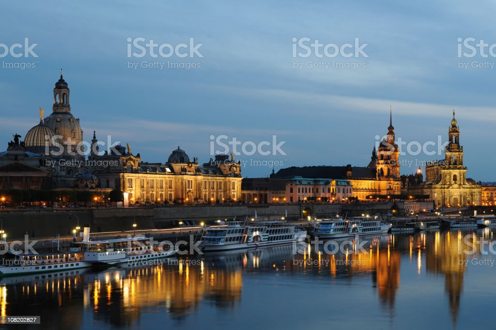 Dresden Brühl`s Terrace Promenade Evening stock photo