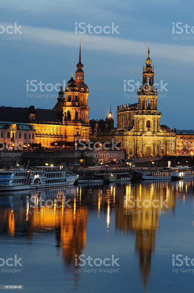 Dresden Brühl`s Terrace with Hofkirche and Palace Residence Blue Hour royalty-free stock photo