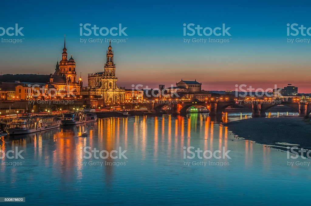 Dresden, Bruehl Terrace, Elbe River Reflections at Dusk, Germany stock photo