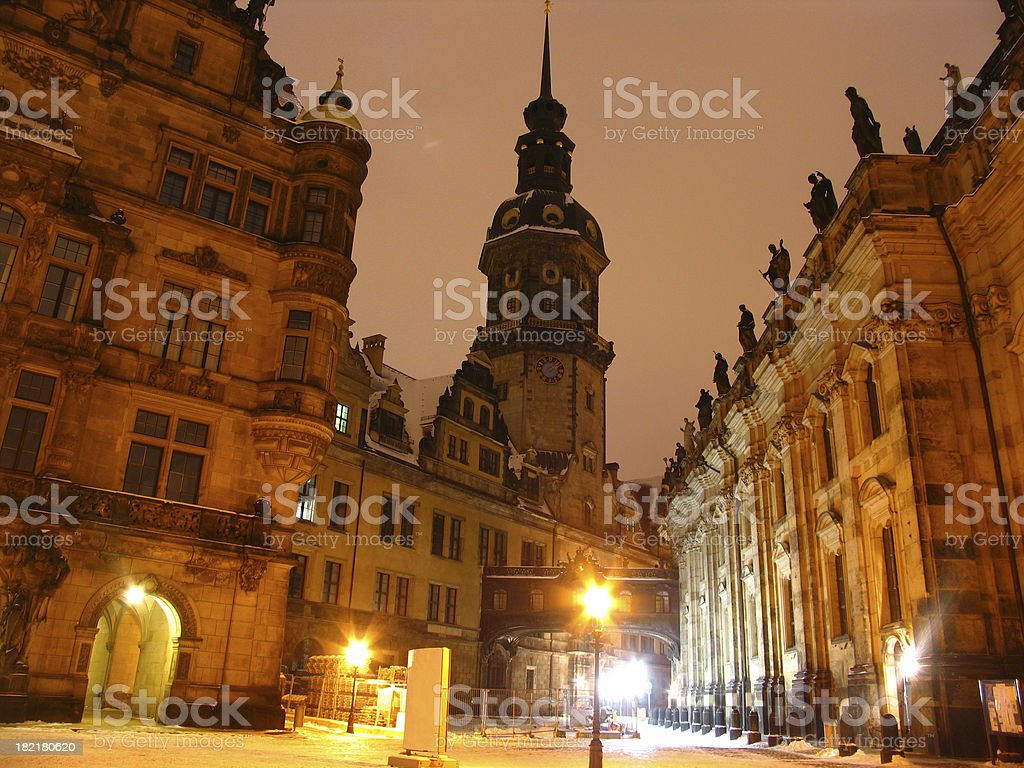 Dresden Castle by Night royalty-free stock photo