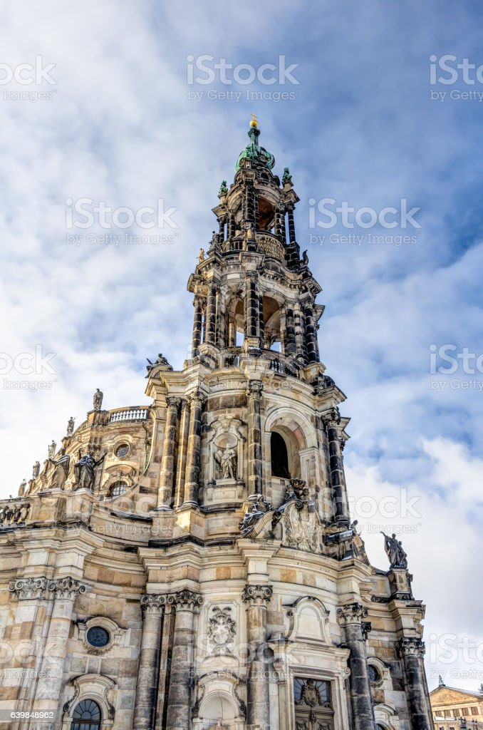 Dresden cathedral in the old town stock photo