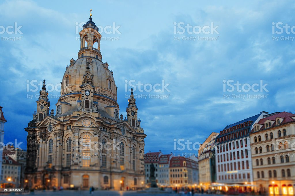 Dresden, Church of our Lady, Frauenkirche at evening stock photo