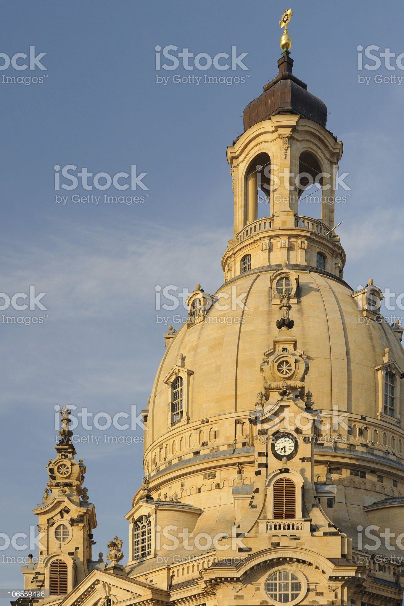 Dresden Church of Our Lady Top before Sunset Right royalty-free stock photo