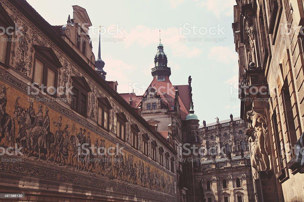 Dresden city center view stock photo