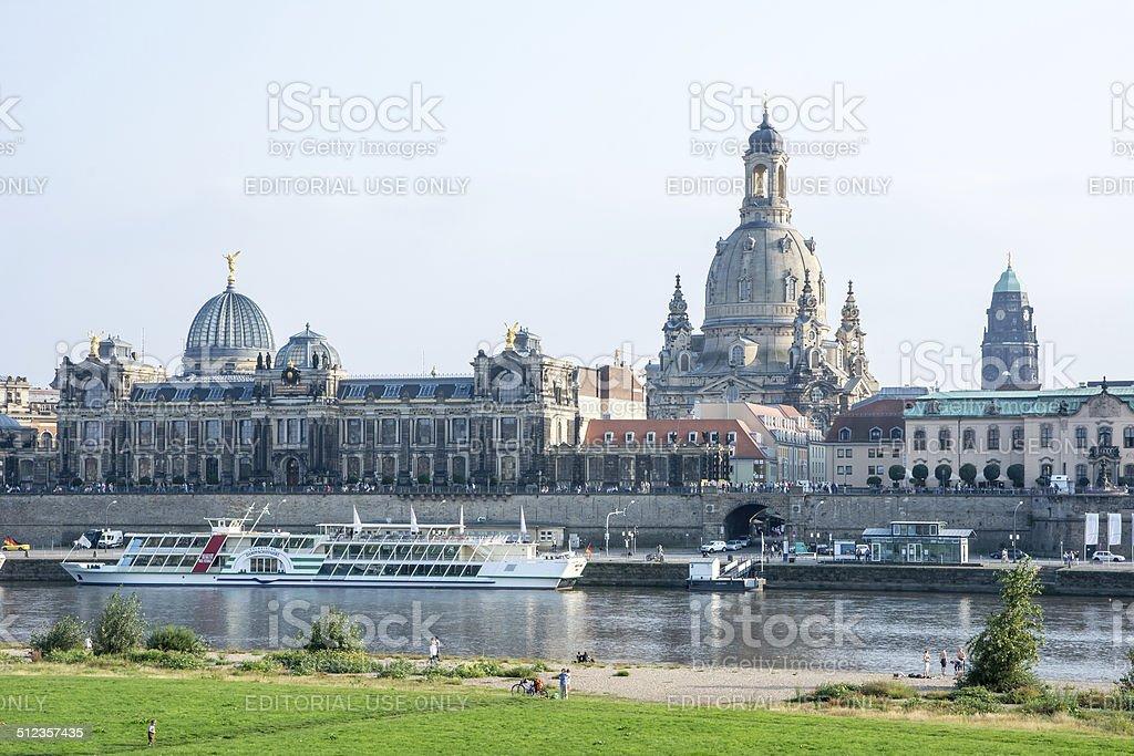 Dresden Elbe Promenade stock photo