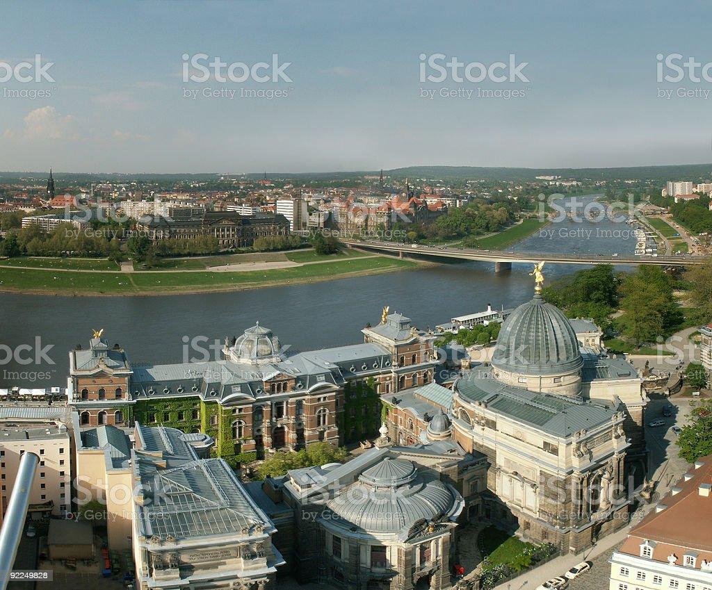 Dresden Elbtal von der Fauenkirche stock photo
