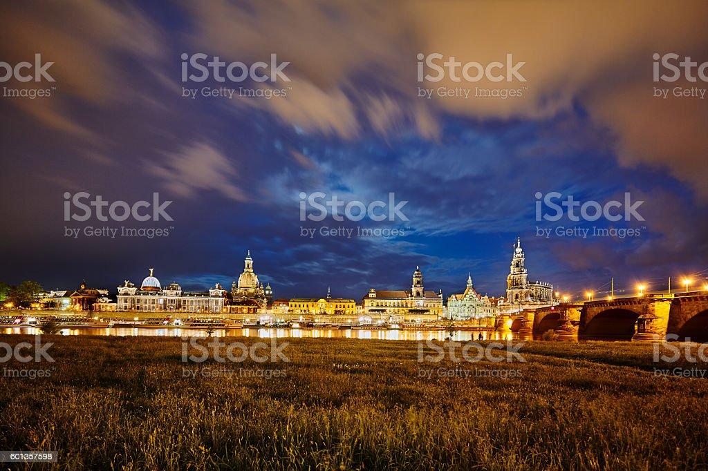 Dresden Elbufer bei Nacht stock photo