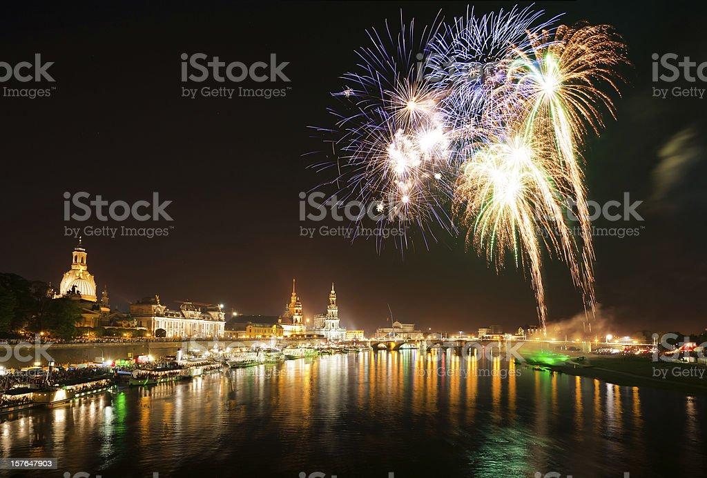 Dresden Fireworks royalty-free stock photo