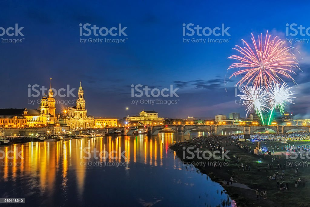 Dresden Fireworks stock photo