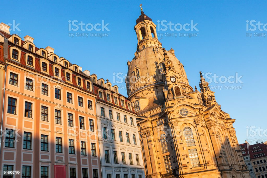 Dresden Frauenkirche at sunset stock photo