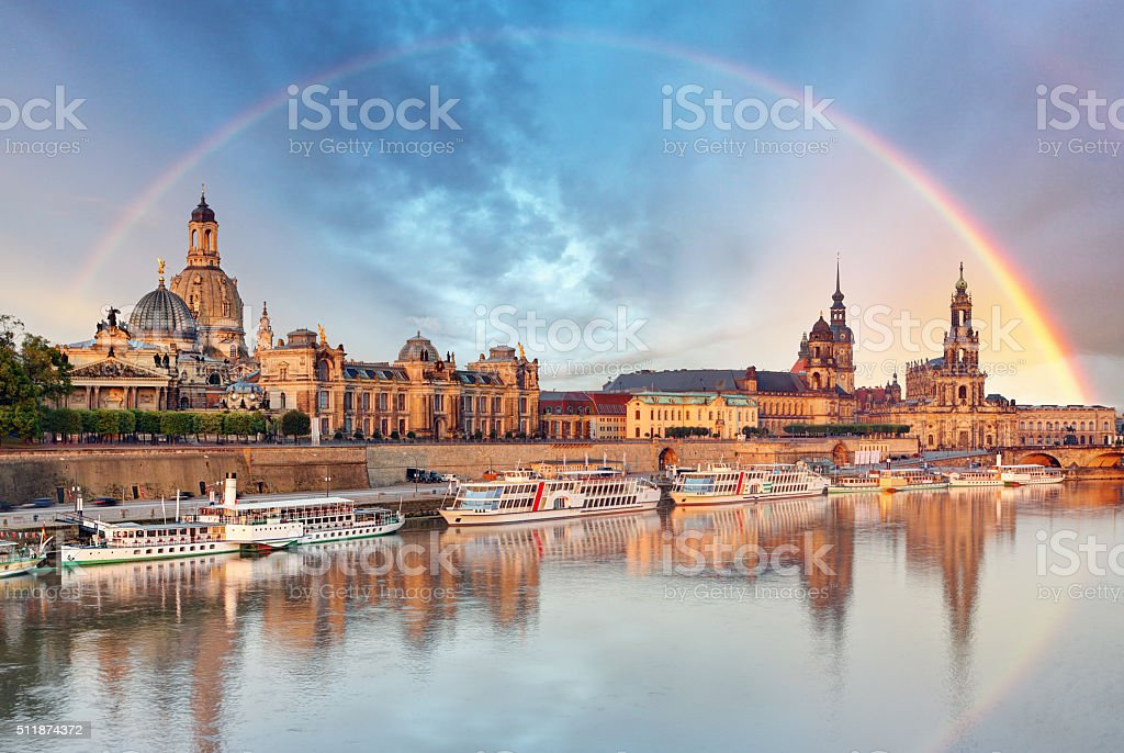 Dresden, Germany skyline with Elbe River stock photo