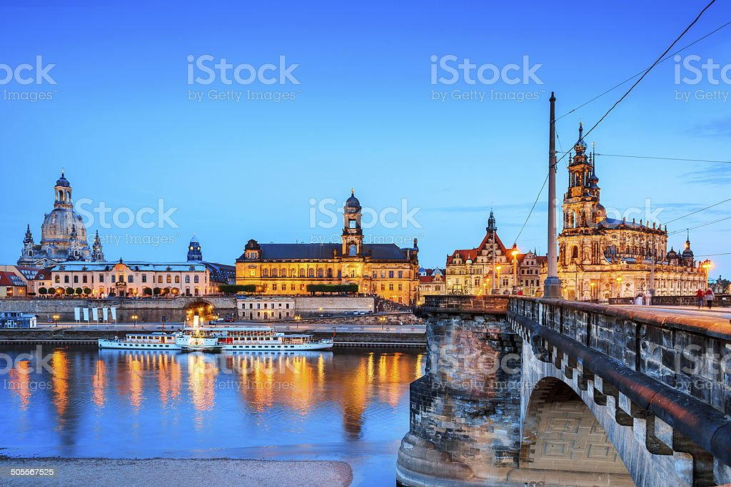 Dresden historical center at twilight stock photo