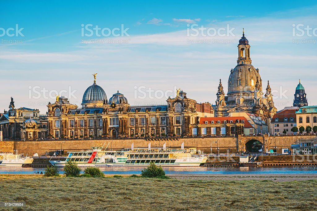Dresden historical center with River Elbe in the summer stock photo