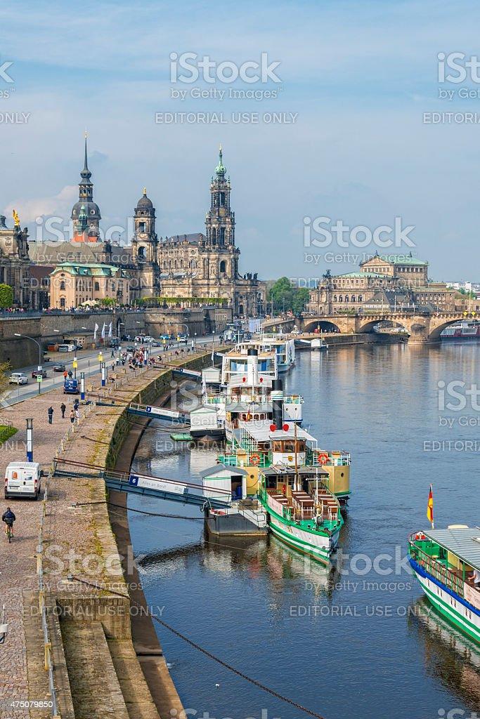 Dresden Hofkirche and Semperoper behind tourist steam boats stock photo