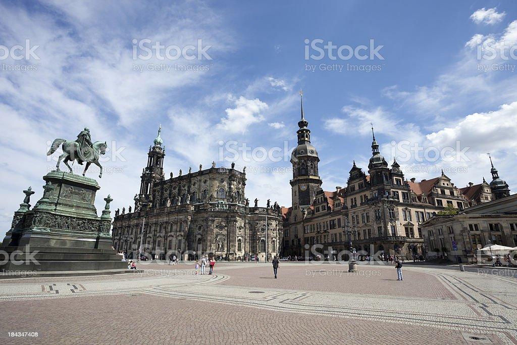 Dresden Hofkirche - View from Semper Opera stock photo