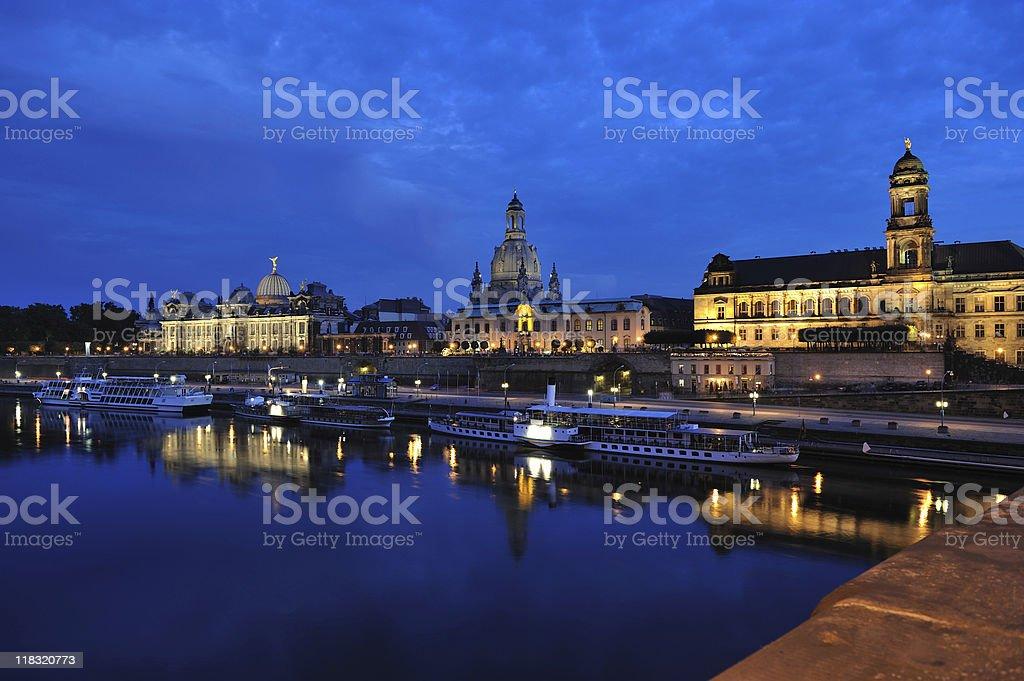 Dresden Illuminated Br?hl Terrace Bridge View Twilight stock photo