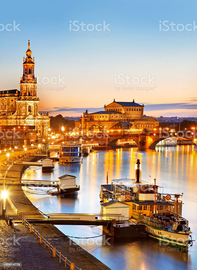 Dresden in Germany at Dusk stock photo