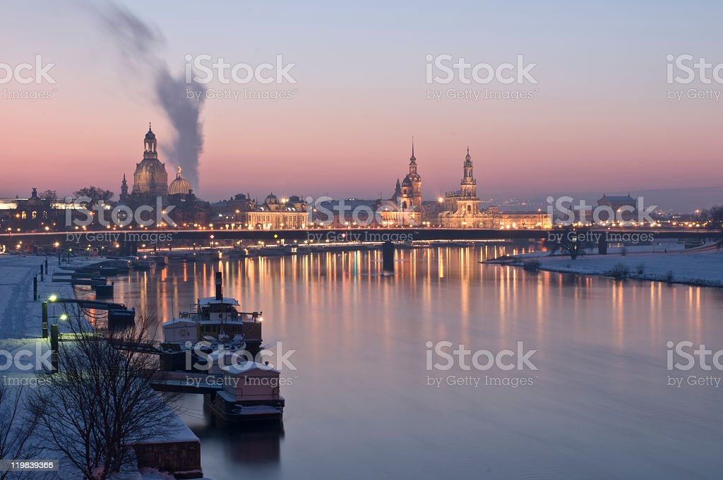 Dresden in winter, elbe river and skyline stock photo