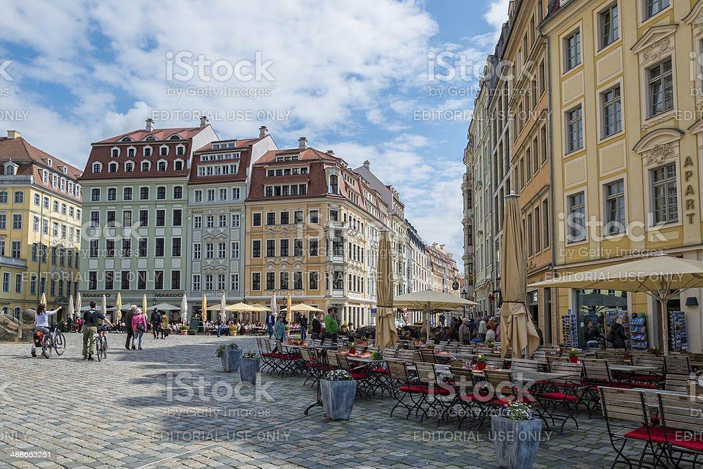 Dresden, Neumarkt - buildings with restaurants stock photo