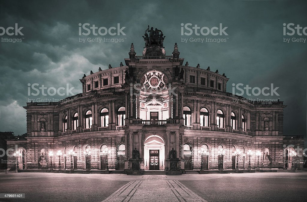 Dresden Opera Theatre at night stock photo