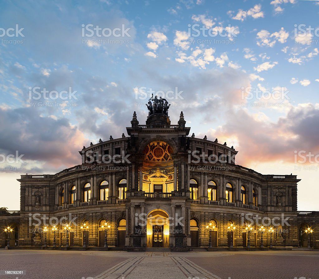 Dresden Opera Theatre in the evening stock photo