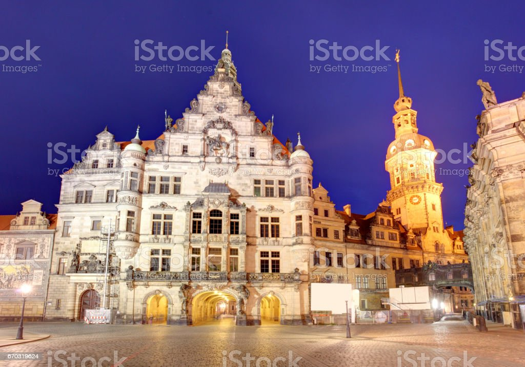 Dresden panorama at night, with Hofkirche cathedral stock photo