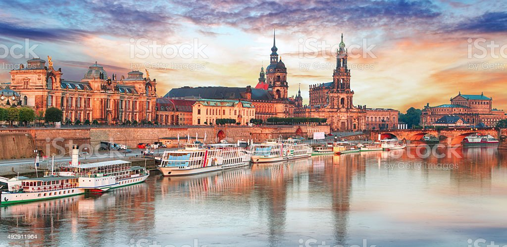 Dresden panorama at sunset, Germany stock photo