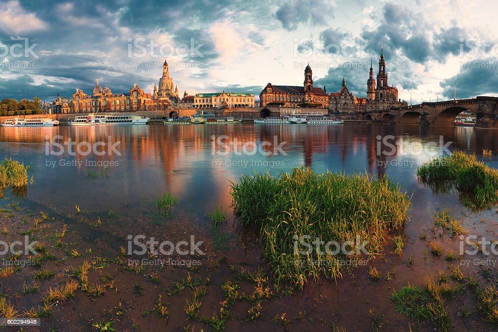 Dresden Panorama Elbufer stock photo