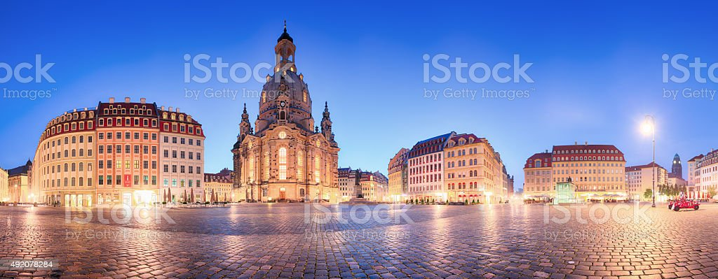 Dresden panorama in frauenkirche square at night, Germany stock photo