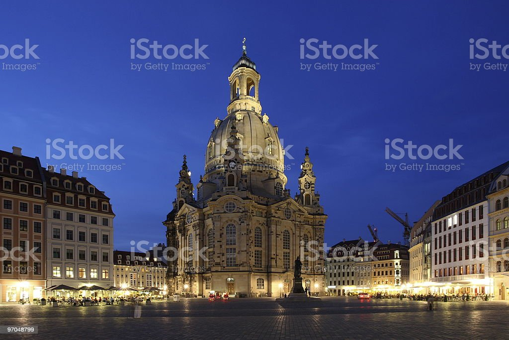 Dresden Panorama of Church Our Lady Night royalty-free stock photo
