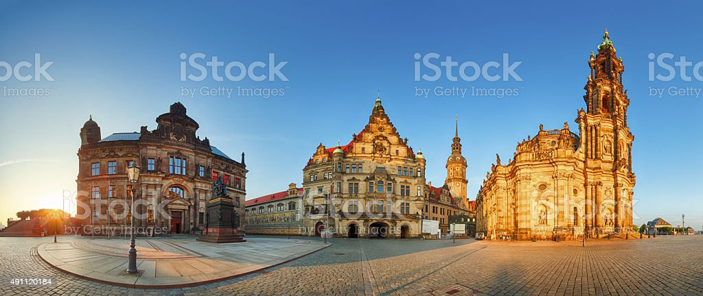 Dresden panorama square, Hofkirche, Germany stock photo