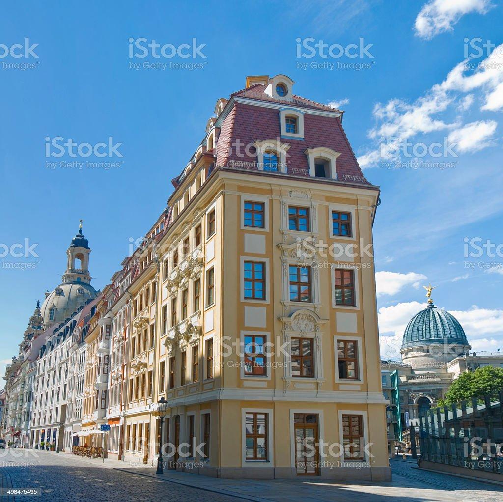 Dresden, Rampische Strasse 1, reconstructed baroque facade stock photo
