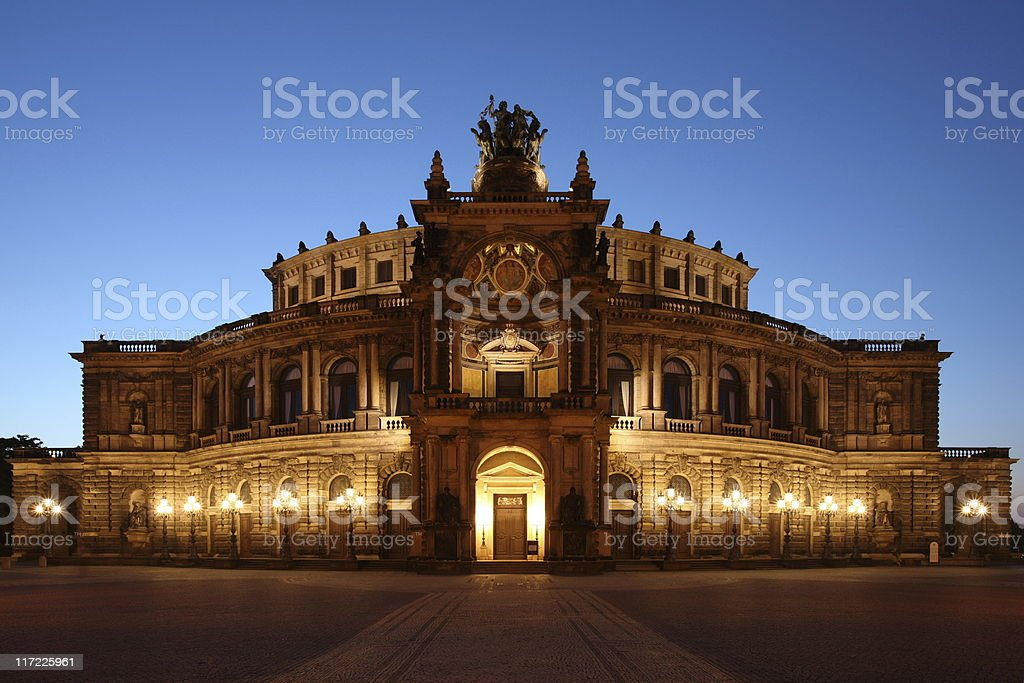 Dresden Semperoper Front Blue Hour royalty-free stock photo