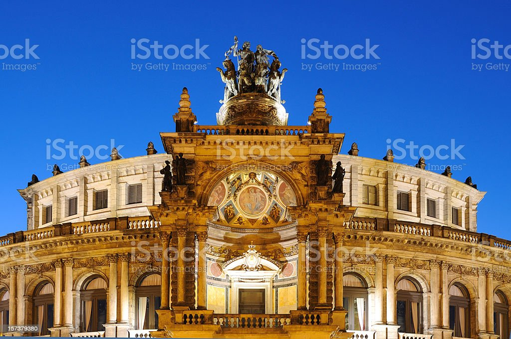 Dresden Semperoper Opera House Blue Hour royalty-free stock photo