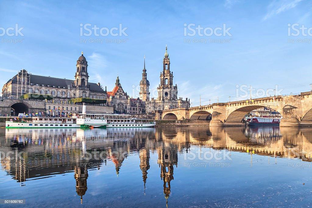 Dresden skyline and Augustus bridge stock photo