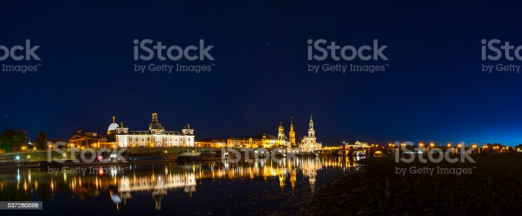 Dresden skyline at night with Brühl's Terrace, Theaterkirche and Frauenkirche. stock photo