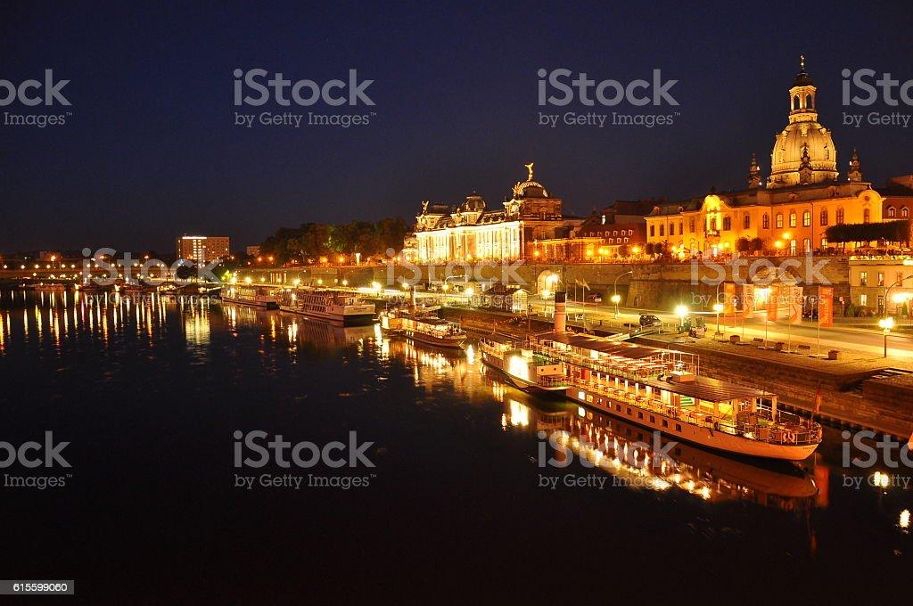 Dresden skyline in the evening stock photo