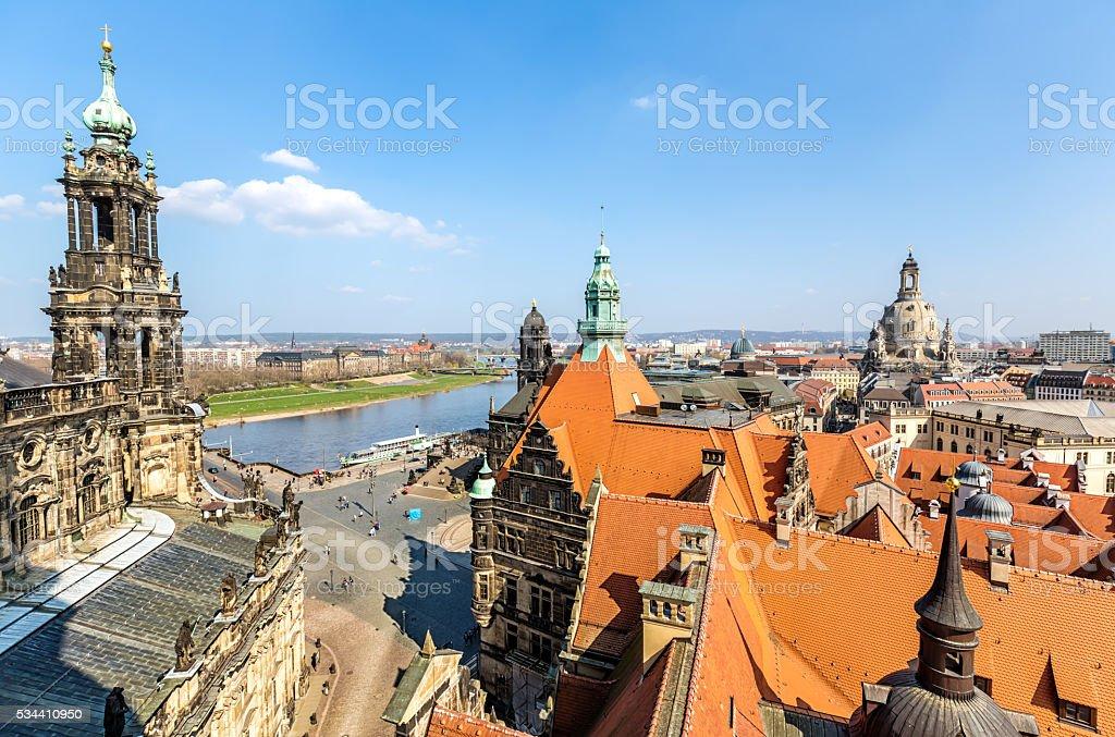 Dresden Skyline with Hofkirche stock photo