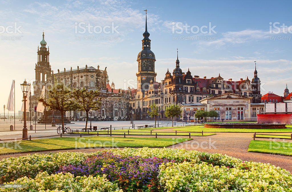 Dresden square at sunrise - Hofkirche stock photo