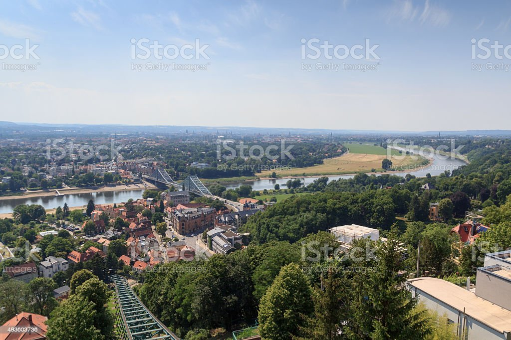 Dresden Suspension Railway tracks, river Elbe and church Frauenkirche stock photo