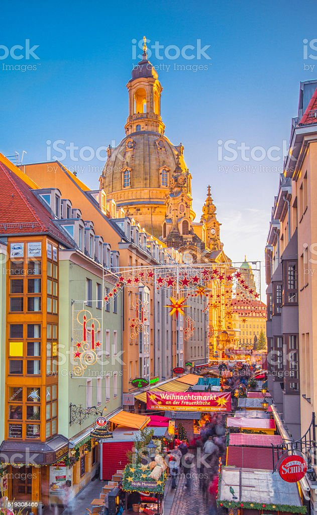 Dresden with Christmas Market at Frauenkirche stock photo