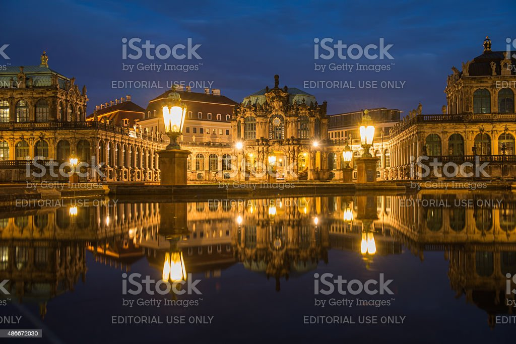 Dresden Zwinger at Night stock photo