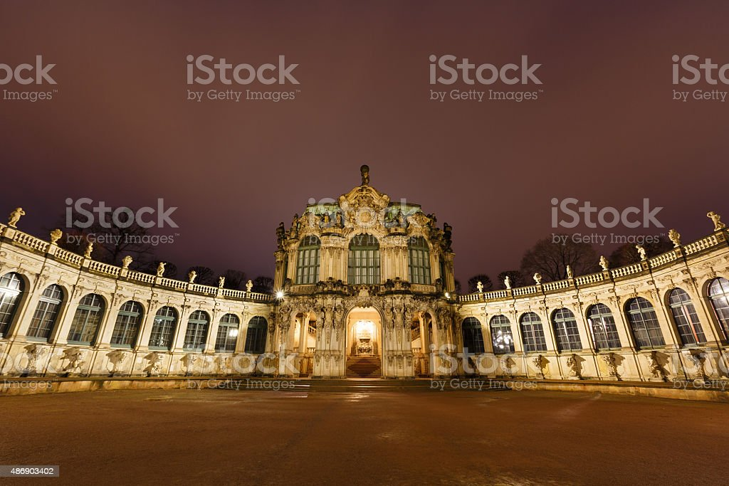 Dresden Zwinger palace panorama with illumination at night stock photo