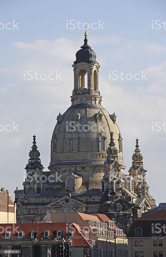 Dresdener Frauenkirche, in the twilight royalty-free stock photo