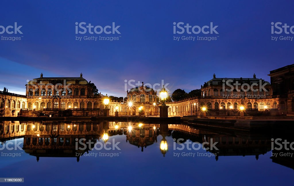 Dresdens Zwinger at night stock photo