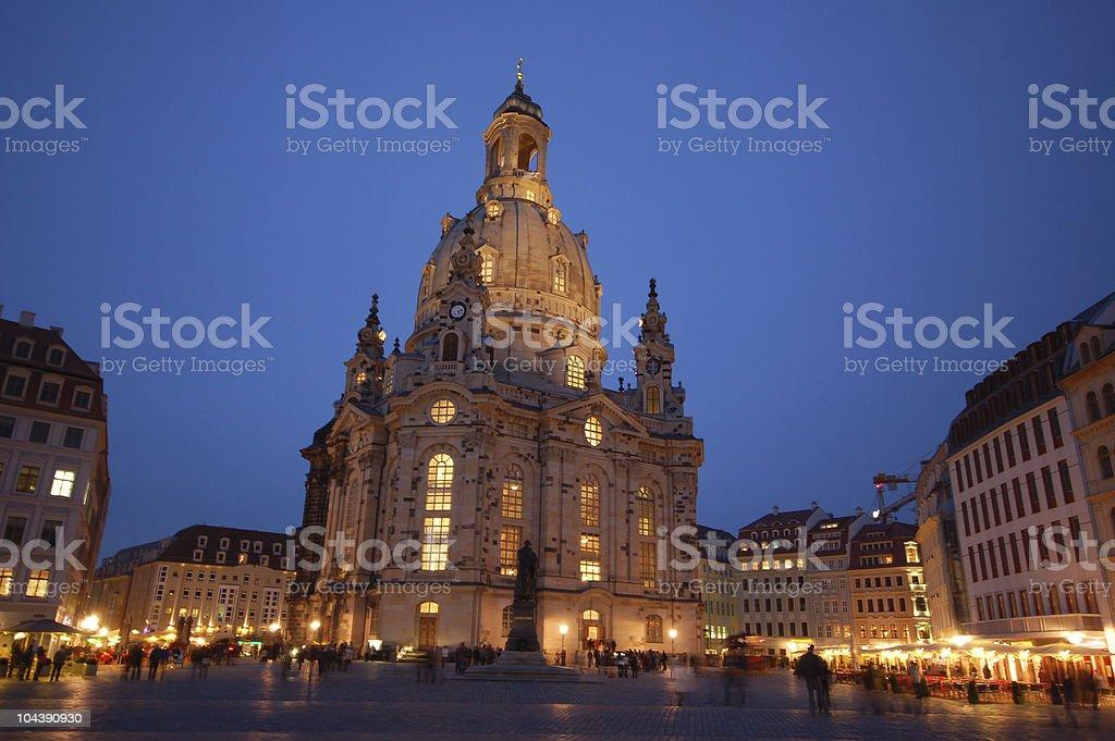 Dresdner Frauenkirche am Abend (Germany) stock photo