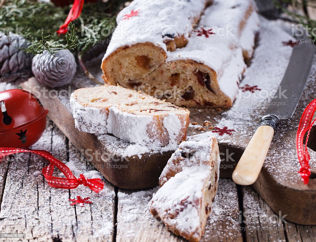 Dresdner stollen is a traditional German cake stock photo